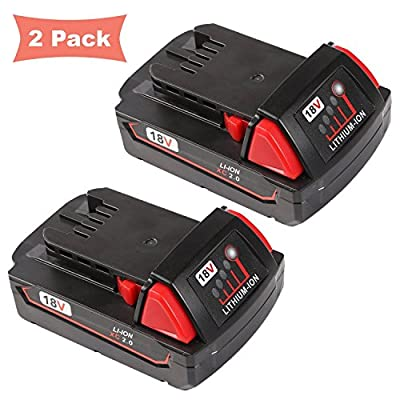 Enegitech 2Pack 18V 2.0Ah Lithium Ion Replacement Battery with Recharge Indicator for Milwaukee M18