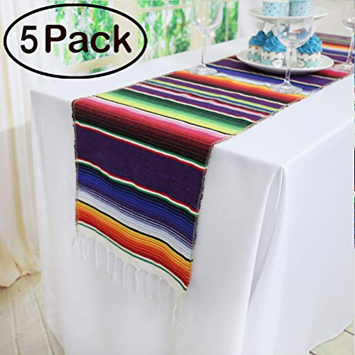TRLYC Pack of Five 14 x 84 inches Mexican Serape Table Runners for Mexican Party Wedding Decorations Fringe Cotton Table Runner -
