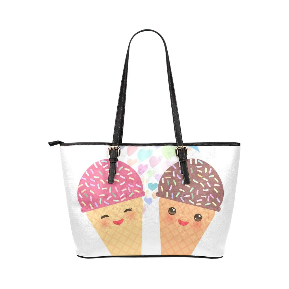 Japan Kawaii Cute Cartoon Painting Large Soft Leather Portable Top Handle Hand Totes Bags Causal Handbags With Zipper Shoulder Shopping Purse Luggage Organizer For Lady Girls Womens Work