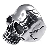 Aokarry Mens Skull Rings Stainless Steel Gothic Silver Black Punk Style 29MM Size 8