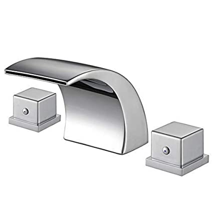 Bathroom Faucet Bathroom Sink Faucet With 2 Handles For 8 Inch 3 Holes Sink Bath Faucet With Waterfall Widespread Chrome Finish Hot And Cold Water