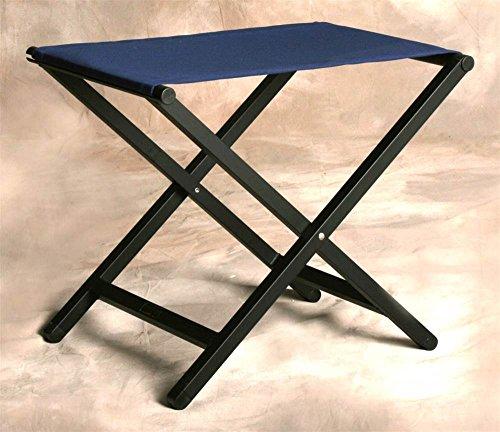 (Sutton Bridge Small Folding Footstool w Aluminum Frame in Marine Blue)