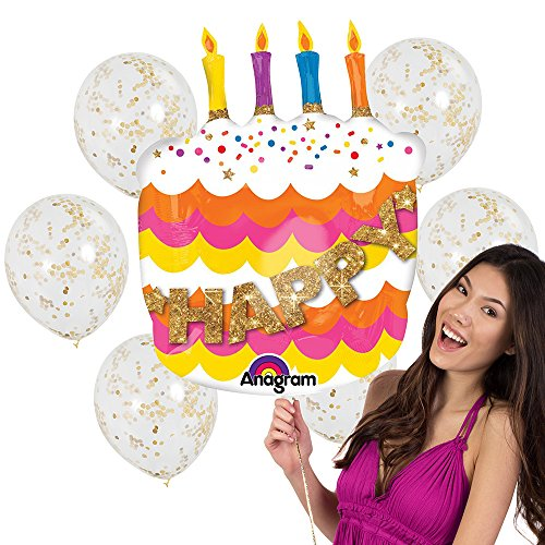 """7pc""""Happy Birthday"""" Balloon Bouquet - Fancy 27"""" Birthday Cake Shaped Mylar Balloon and 6 Matte Gold Confetti Clear Balloons"""