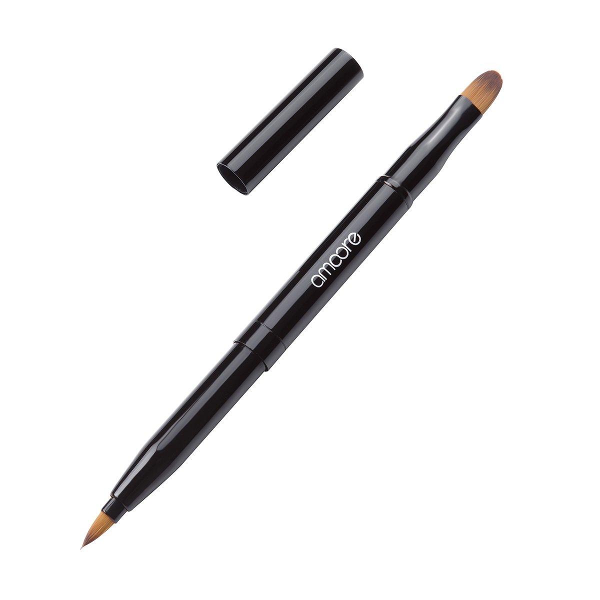 amoore spazzola ombretto retraibile per labbra spazzole trucco pennello congelatore doppio di colore fondo (Nero) DL-01
