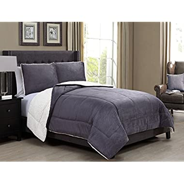 3 Piece King Microsuede Sherpa Comforter Set Dark Gray