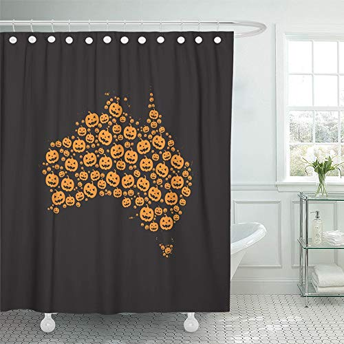 Emvency Shower Curtain Set Waterproof Adjustable Polyester Fabric Map of Australia Filled with Halloween Pumpkin Heads Different Sizes on Black 72 x 78 Inches Set with Hooks for Bathroom