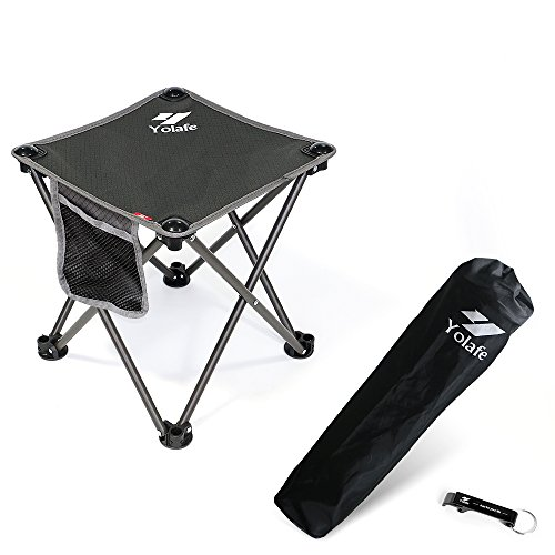 Portable Camping Stool, Folding Chair for Camping Fishing Hiking Gardening and Beach, Grey Seat with Black Bag (1 Piece) by Yolafe