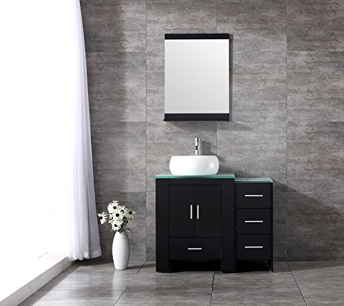 Walcut 36 Inch Bathroom Vanity Cabinet With Mirror And Tempered Glass Table Board With Single White Cylinder Vessel (Cylinder Vessel)