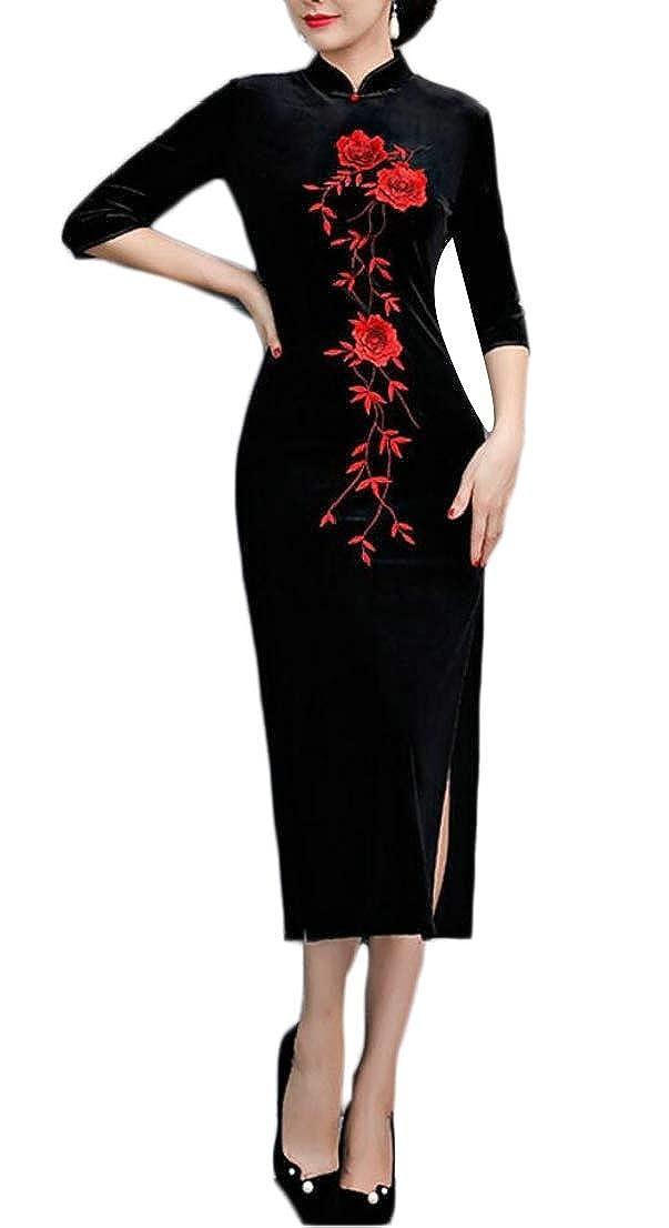 1 GenericWomen Velvet Elegant 3 4 Sleeve Cheongsam Qipao Slim Side Split Dress