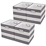 Posprica Large Collapsible Storage Bins Boxes Cubes Basket Containers Drawers Nurseries,Offices,Closets,Home Décor - 13''×13'',4pcs,Grey/Beige Stripes