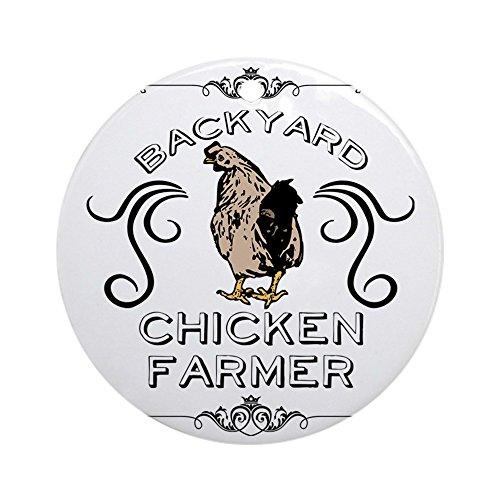 CafePress Backyard Chicken Farmer Round Holiday Christmas Ornament