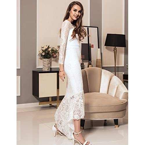 d68b9e125 ohyeah Women Solid Formal Lace Maxi Dress Long Sleeve Off Shoulder Elegant  Party Gown Mermaid Dress