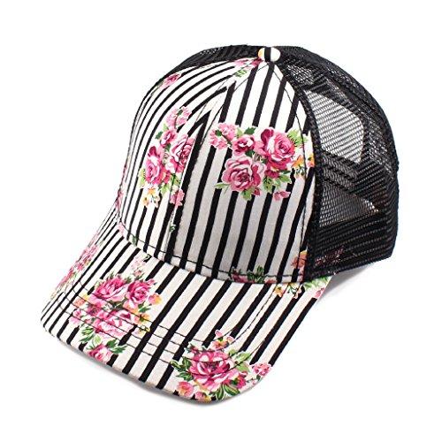 H-6140-101006 Floral Trucker Hat - Pinstripe (Black)