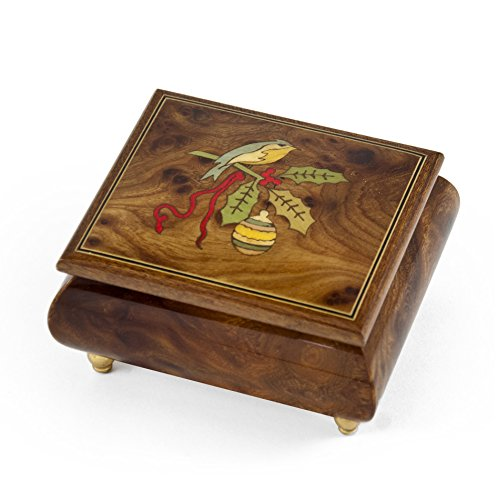Handcrafted 18 Note Sorrento Music Box with Christmas Theme Wood Inlay of a Christmas Bird - The Little Drummer Boy