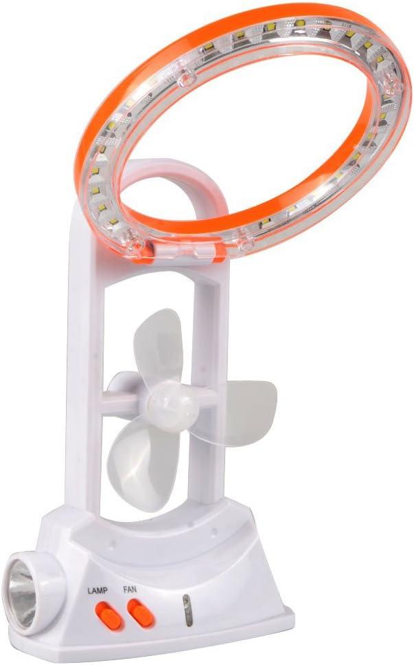 Clock Escritorio Mini Ventilador Portátil LED Multifunción 3 En 1 con Lámpara De Mesa Antorcha De Luz