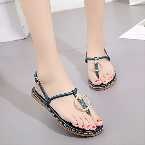 de Verano de y Antideslizantes de Plano de Zapatos YMFIE con la Playa señora Fondo black cómodos Zapatos Sandalias qwCxXz