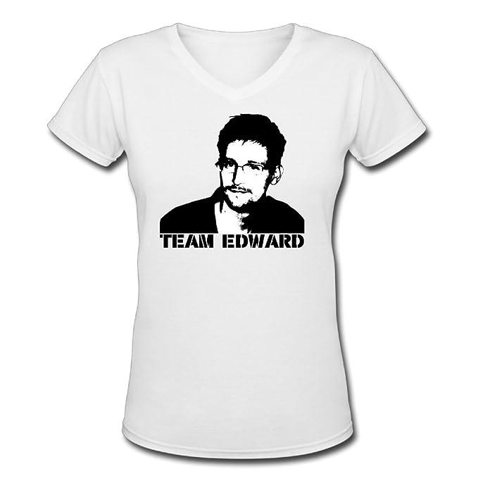 6ca2c97e Classic Women's Team Edward Snowden Short Sleeve Slim Fit V-neck T-Shirt  White