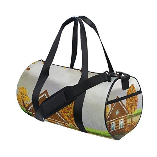 Gym Bag Autumn Fall Rain House Tree Sports Travel Duffel Lightweight Canvas Bags