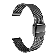 "Universal 18mm Quick Release Watch Band, MoKo Mesh Stainless Steel Bracelet Replacement Strap for Huawei Watch 1st/Fit Honor S1, Asus Zenwatch 2 1.45"", Withings Activite Pop/Pulse Ox, Black"