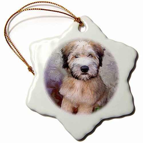 3dRose Soft Coated Wheaten Terrier Snowflake Porcelain Ornament, 3-Inch