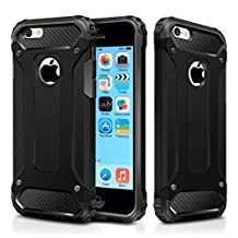 iPhone 5C Case,Wollony Rugged Hybrid Dual Layer Hard Shell Armor Protective Back Case Shockproof Cover for Apple iPhone 5C 4inch - Slim Fit - Heavy Duty - Impact Resistant Bumper (Black)
