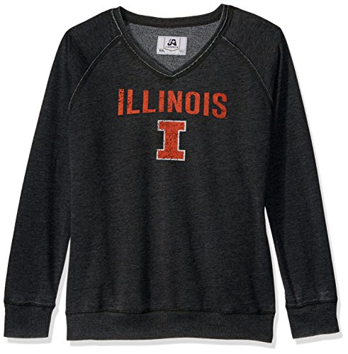 J America NCAA Illinois Illini Women's Achieve Fleece Crew Sweater, Large, Black (Illinois Fleece Illini)