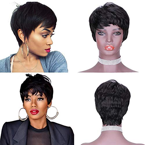 Short Human Hair Pixie Cut Wigs with Bangs Brazilian Natural None Lace Front Machine Made Cute Wig Black Color for Women…