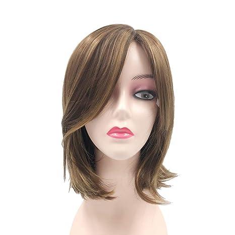 Peluca mujer clifcragrocl, Color mezclado Fringe Hombro Longitud Mujeres Peluca Fiesta Faux Decoraciš®n para el pelo - 6947 Mix Golden: Amazon.es: Belleza