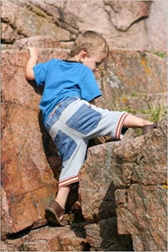 Determined Little Boy Climbing on Rocks Journal: 150 Page Lined Notebook/Diary