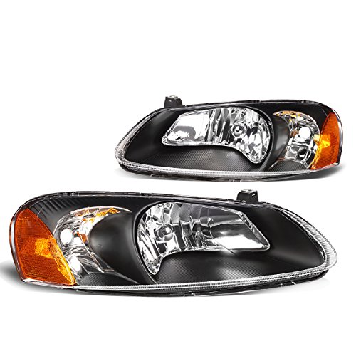 DNA Motoring Black amber HL-OH-031-BK-AM Pair of Headlight Assembly [01-03 Chrysler Sebring / 01-06 Dodge Stratus]