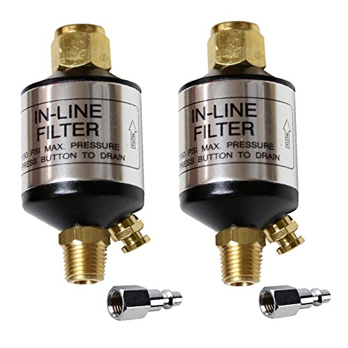 Jewboer 2-pack Oil Water Separator Filter for Air Compressor Spray Paint Gun Air Tools,Plasma Cuttersand Air Lines,1/4' NPT Inlet and Outlet,with Quick Connector