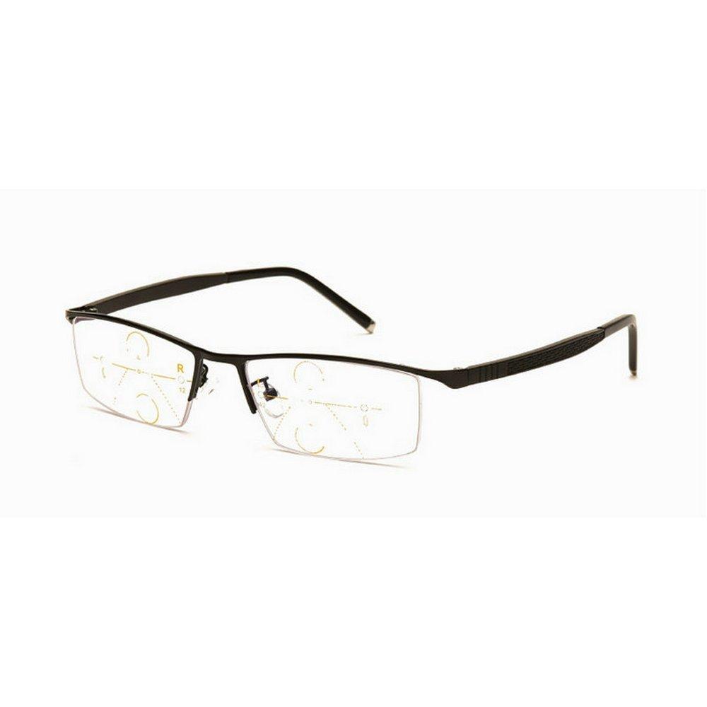 bbc8d807b12 Amazon.com  Fashion Metal Half Rim Progressive Multifocal Rectangular Men  Reading Glasses (Black