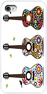 Rikki KnightTM Hippy 60's Flower Power Guitars Design iPhone 5 & 5s Case Cover (White Rubber with bumper protection) for Apple iPhone 5 & 5s