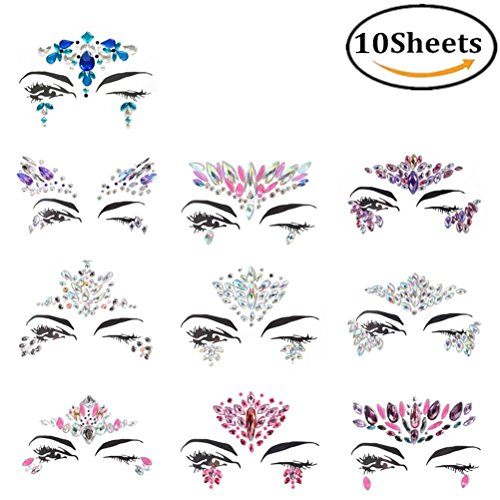 JiaUfmi Rhinestone Face Gems Stickers Face Jewels Stick On Face Eyes Decorations Crystal Gem Stones Bindi Temporary Stickers, 10 Sheets Asstd -