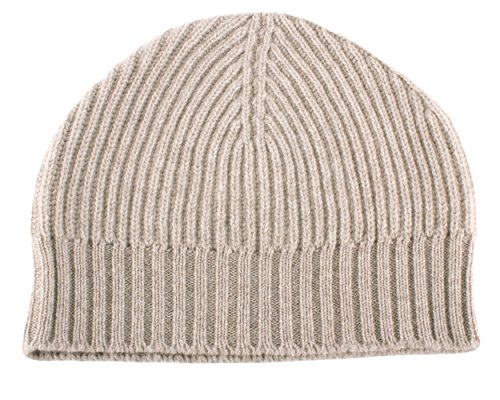 Love Cashmere Mens Ribbed 100% Cashmere Beanie Hat - Light Natural - Made in Scotland RRP $180