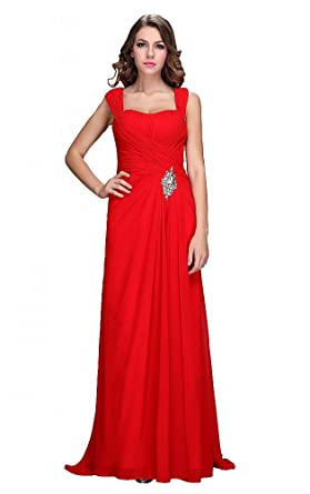 Festamo Sequins Evening Dresses Long Prom Dress Party Dress Elegant - Red -
