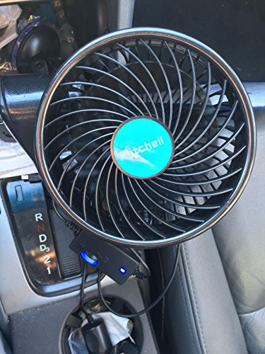 Wua 12V 6 inch Car Cooling Fan Automobile Vehicle Adjustment Suction Cup Fan Powerful Quiet Ventilation Electric Fans with Suction Cup & Cigarette Lighter Plug for Car/ Vehicle by Wuao (Image #3)