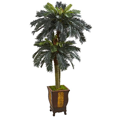 - Nearly Natural 5628 6' Double Sago Palm Tree in Designer Planter Artificial Plant, Green