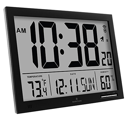 Marathon Cl030062bk Slim Jumbo Atomic Digital Wall Clock