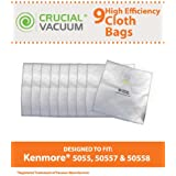 9 Kenmore Type C Allergen Filtration HEPA Style Cloth Vacuum Bags Designed To Fit Kenmore Canister Type C, 5055, 50557, 50558 & Panasonic Type C-5 Vacuum Cleaners