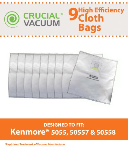9 Kenmore Type C 5055 HEPA Style Cloth Bags Fit Canister Type C 5055 50557 50558 Type Q, Panasonic Type C-5 & C-19 (MC-V295H), Compare to Kenmore Part # 433934, Designed & Engineered By Crucial Vacuum (Kenmore Q Hepa Bags compare prices)