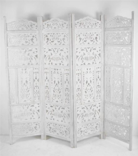 Topfurnishing 4 Panel Heavy Duty Carved Indian Wooden Leaves Design Screen  Room Divider, Wood,