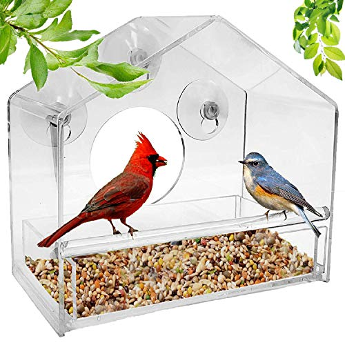 Window Bird Feeder with Strong Suction Cups and Seed Tray, Outdoor Bird Feeders for Wild Birds, Large Outside Hanging Bird House Kits Unique Gifts with Easy Clean Removable Tray