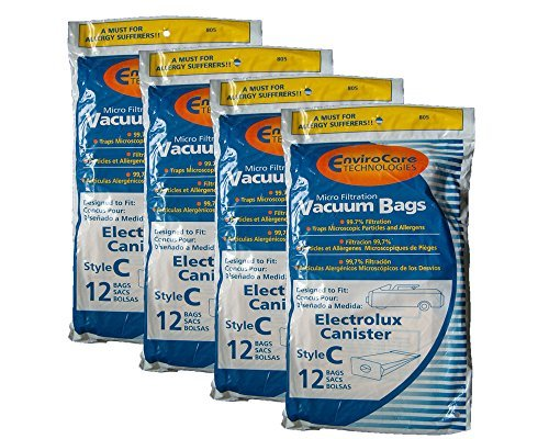 48 Electrolux Allergy Micro Canister Tank Style C Vacuum Bags L E G Super Golden J Silverado Diamond Jubilee Grand Marquise Epic Lux Legacy Diplomat LE Amassador Plus 2100 6000 5000 2000 5500