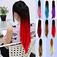 HeBei 6 Colors Women Sexy Long Straight Ponytail Dip Dye Colour Clip in Hair Extension Ombre Party
