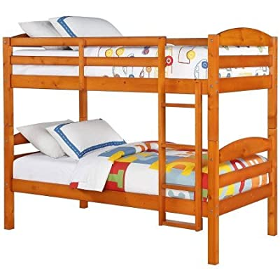 Better Homes and Gardens Leighton Twin Over Twin Wood Bunk Bed, Pine