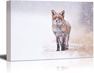 """Canvas Prints Wall Art - Red Fox in The Snow 