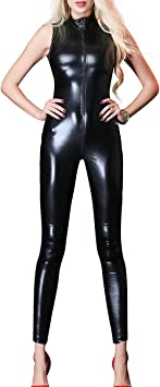 WetLook PVC Open Bust Spandex Catsuit Full body Jumpsuit Playsuit Fits 8-12