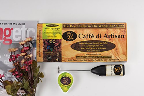 Year End Clearance Sale On Coffee Pods, 10 Peru Organique Flavored Coffee Capsules. Without Nespresso or Keurig Coffee Machine, 100% Recyclable Luxury Coffee Pods. Free Frother with 1st order