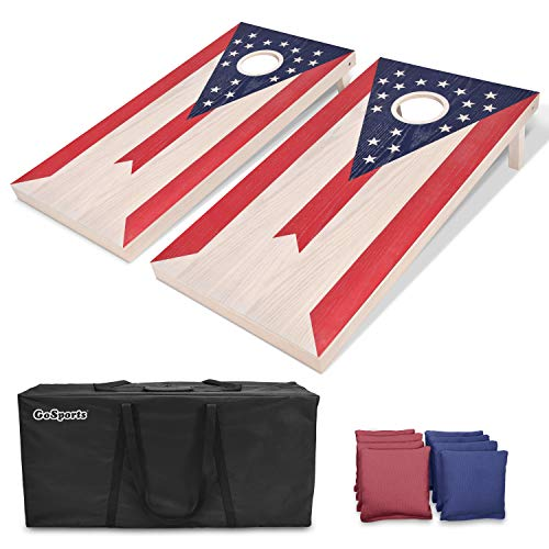 GoSports Ohio Regulation Size Solid Wood Cornhole Set - Ohio Flag - Includes Two 4' x 2' Boards, 8 Bean Bags, Carrying Case & Game Rules